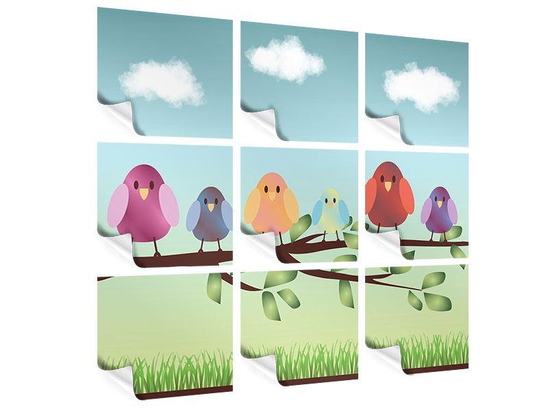 Poster 9-teilig Alle Vögel sind schon da