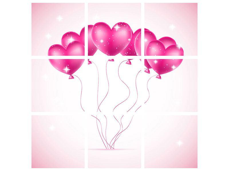Poster 9-teilig Herzballons