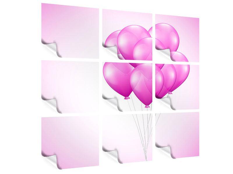 Poster 9-teilig Rosarote Luftballons