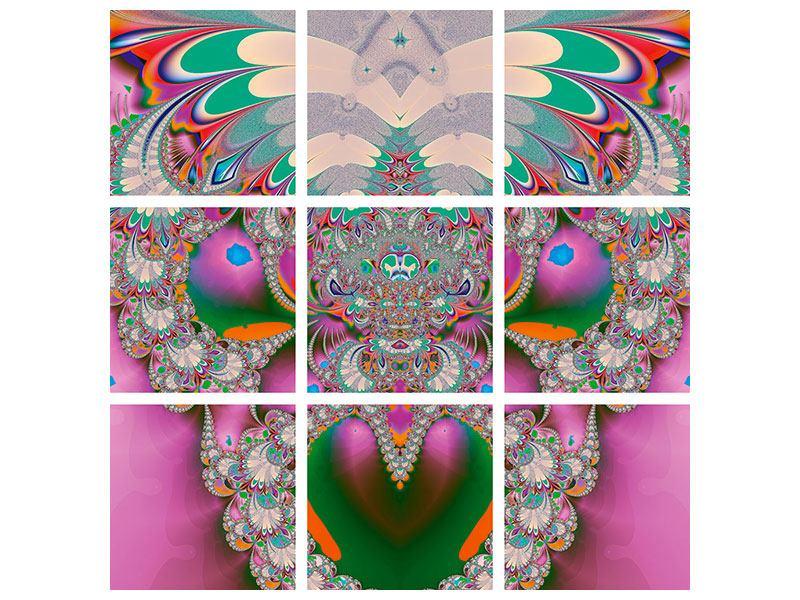Poster 9-teilig Fraktal Design