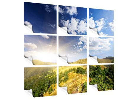 Poster 9-teilig Sonnenaufgang im Gebirge