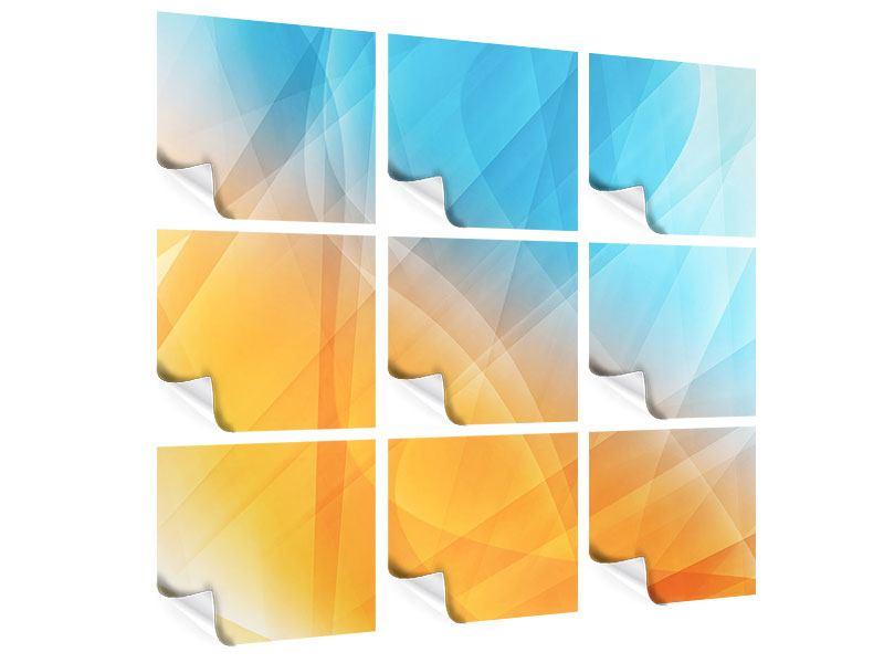 Poster 9-teilig Abstrakte Fliessende Farben