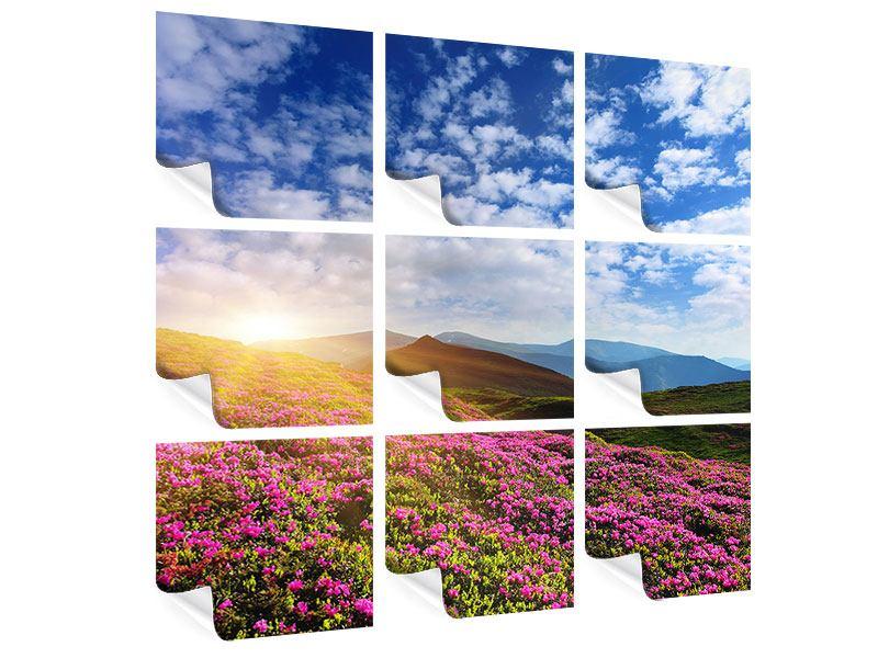 Poster 9-teilig Blumige Berglandschaft