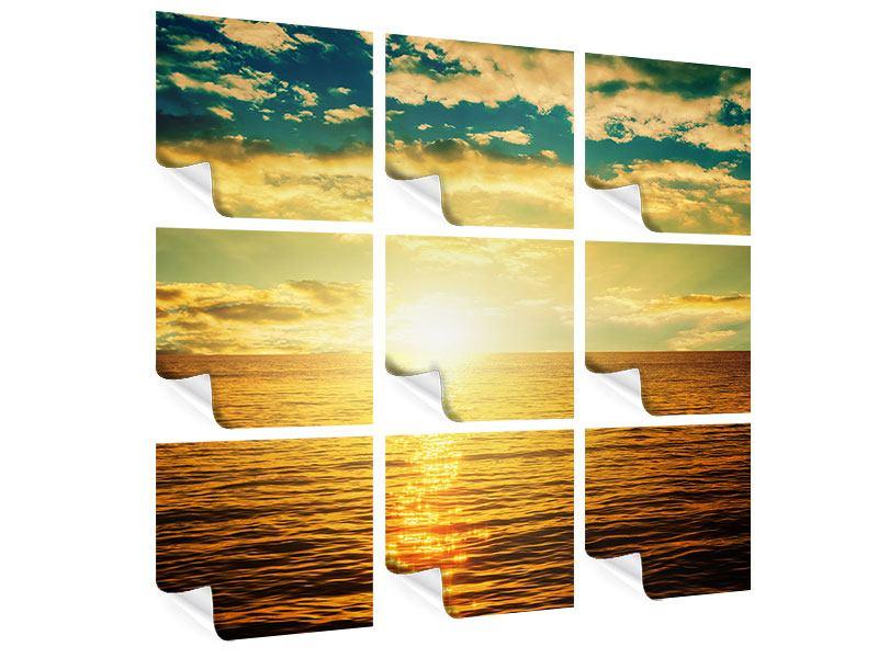 Poster 9-teilig Sonnenuntergang am Meereshorizont