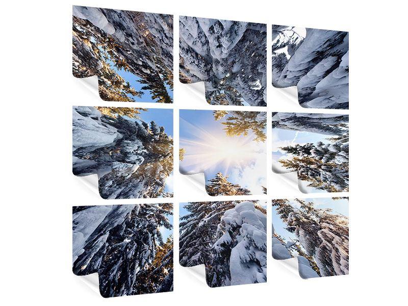 Poster 9-teilig Verschneite Tannenspitzen in der Sonne
