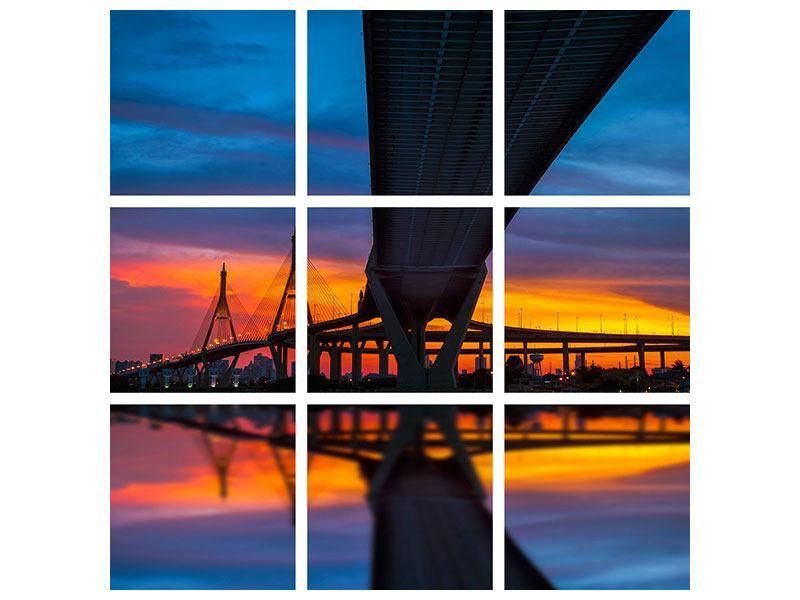Poster 9-teilig Bhumiboll-Brücke bei Sonnenuntergang