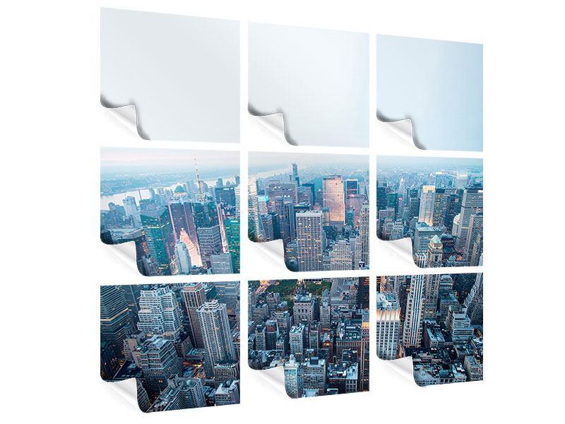 Poster 9-teilig Skyline Manhattan in der Abenddämmerung