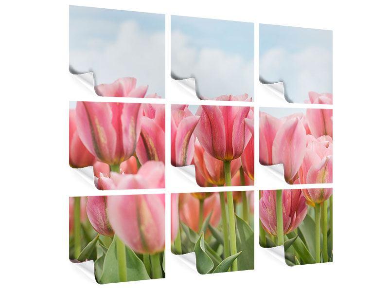 Poster 9-teilig Zarte Tulpen