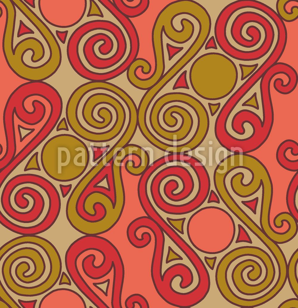 Designtapete Cucuteni Spiralen Orange