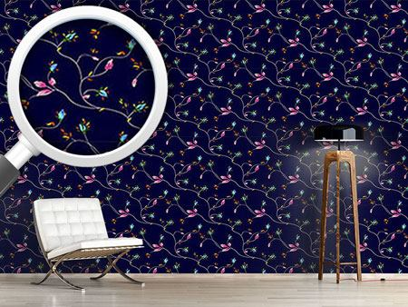 Design Wallpaper Rose Tendrils Night