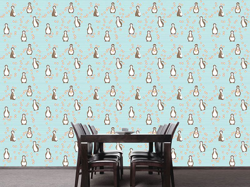 Design Wallpaper Penguin Blossom