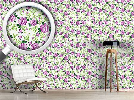 Design Wallpaper Roses In Violets Garden