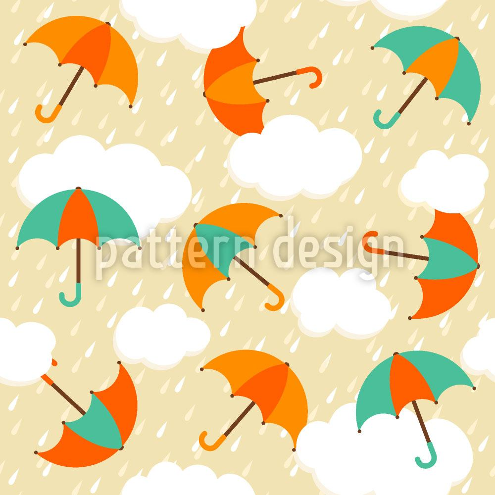 Papier peint design Umbrellas In The Evening Rain
