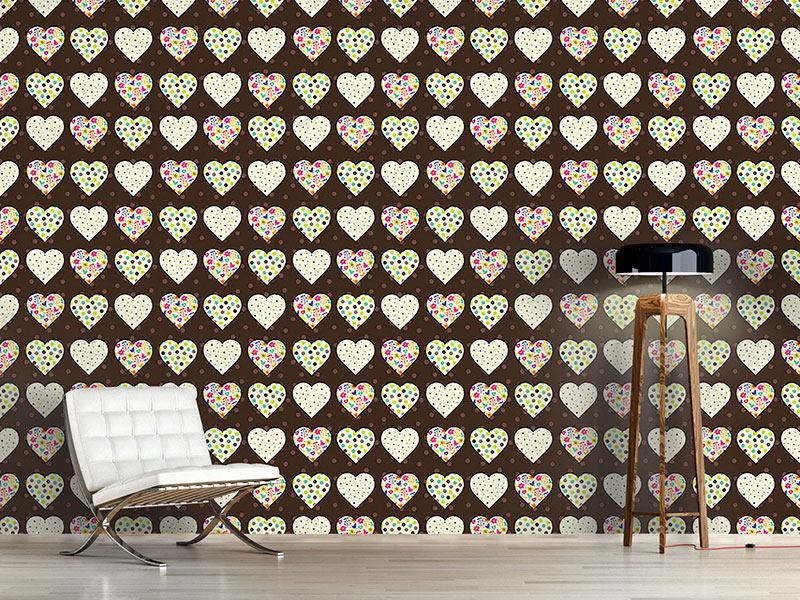 Design Wallpaper Patchwork Hearts On Polkadots