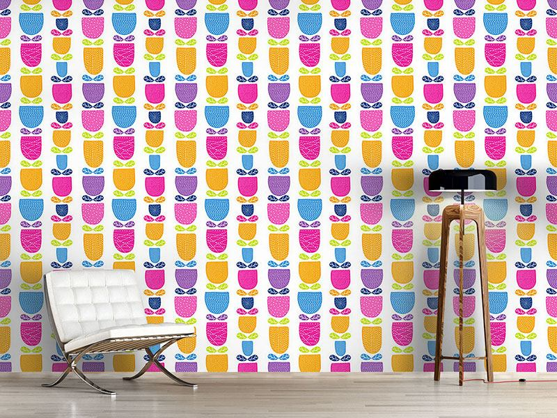 Design Wallpaper Stitched Tulips