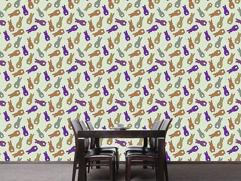 Carta da parati Bouncing Bunnies Purple
