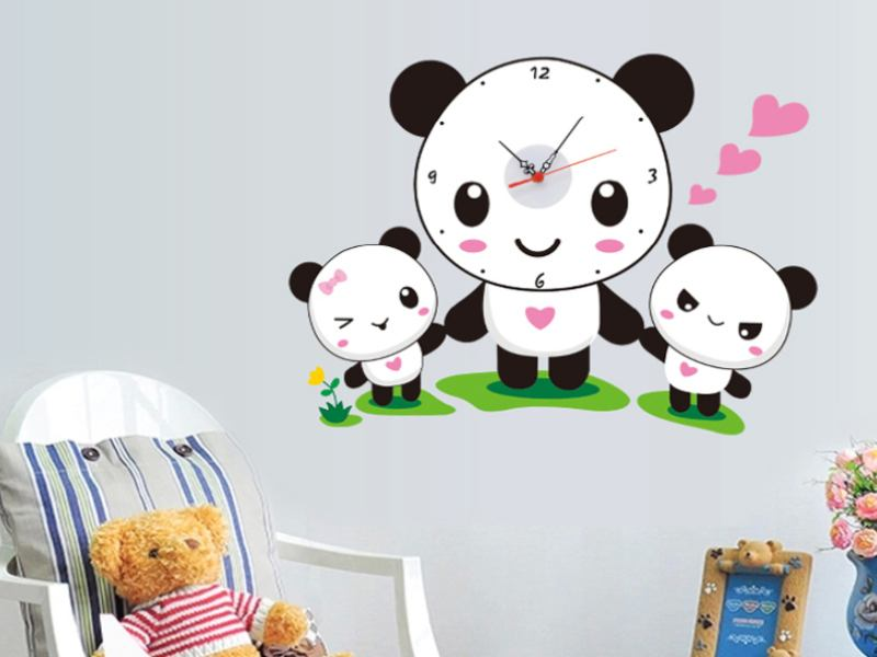 Wandtattoo Kinderuhr Panda