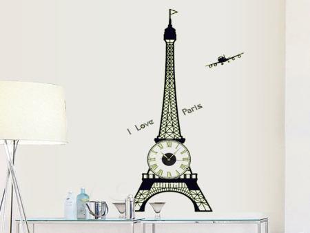 Wandtattoo Eiffelturm Uhr