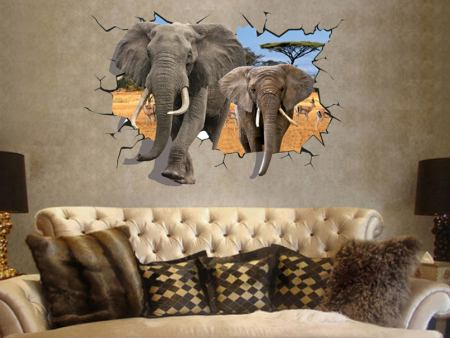 Wall Sticker Elephant Breakthrough