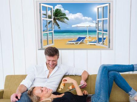 Wandtattoo Fenster zum Strand