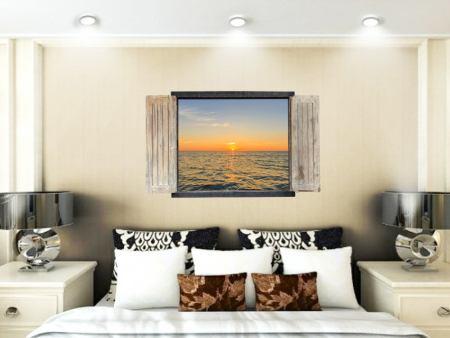 Wandtattoo Fenster mit Seeblick bei Sonnenuntergang