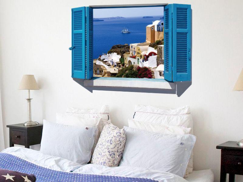 wandtattoo fenster mit inselblick. Black Bedroom Furniture Sets. Home Design Ideas