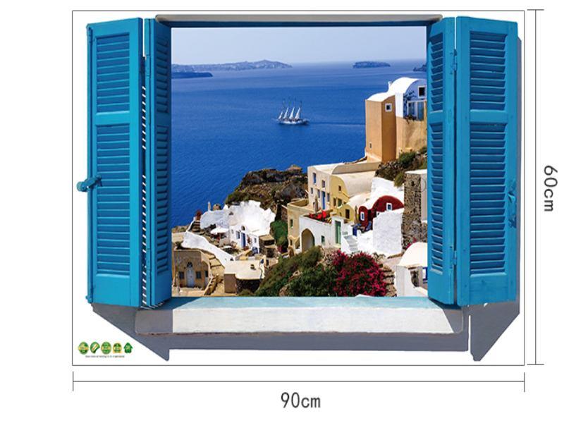 Wandtattoo Fenster mit Inselblick