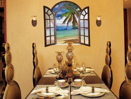 Wandtattoo Romantisches Fenster zum Strand