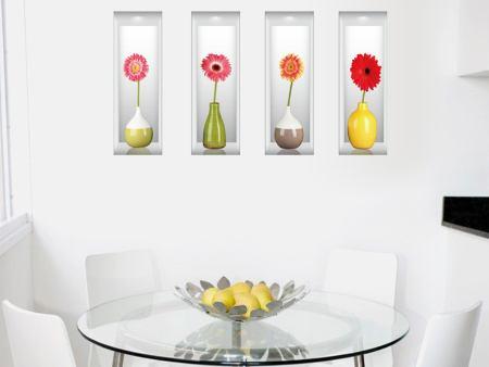 Wandtattoo 3D Blumenvasen