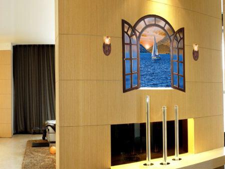 Wandtattoo Romantisches Fenster mit Seeblick