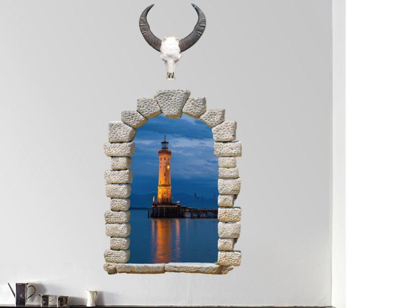 Wandtattoo Fenster zum Leuchtturm