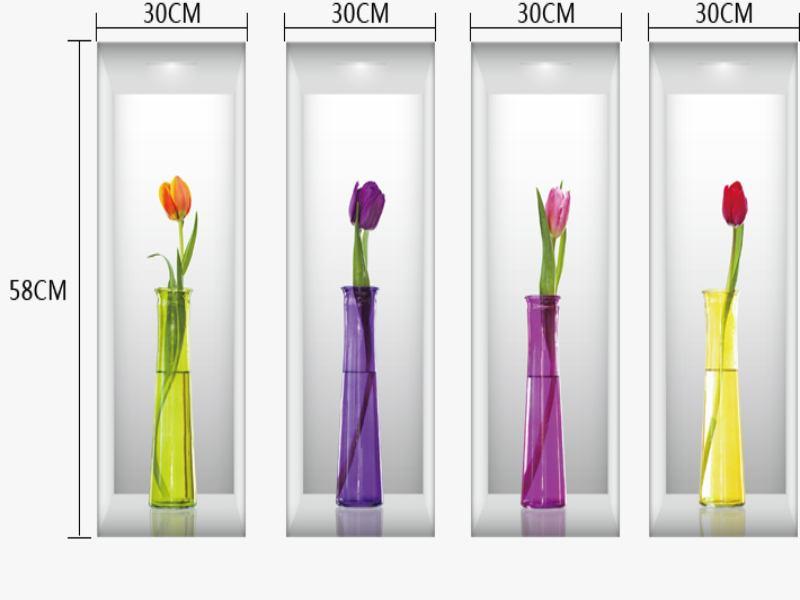 Wandtattoo 3D Blumenvasen Tulpen