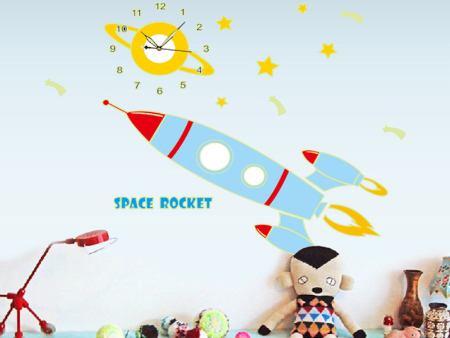 Wandtattoo Kinderuhr mit Rakete