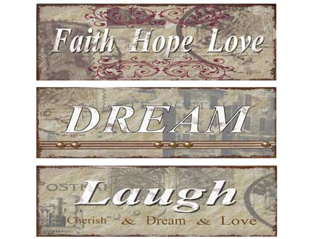 Vintage Metal Deco Sign FAITH, HOPE, LOVE