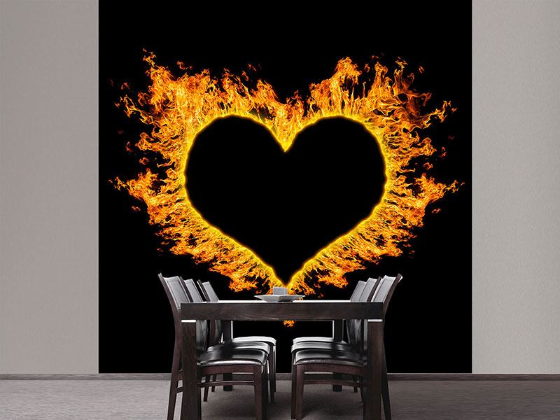 Photo Wallpaper Heart Flame
